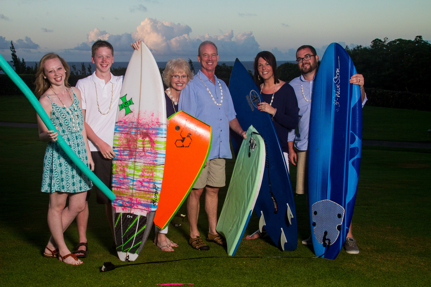 surf board family photo