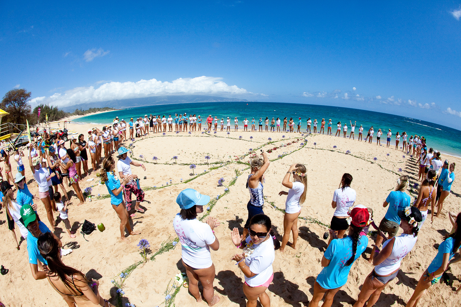 corporate event aerial beach photo